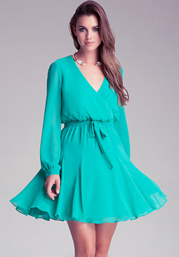 Long Sleeve Surplice Dress at bebe