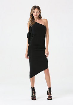 bebe Asymmetric Keyhole Sleeve Dress