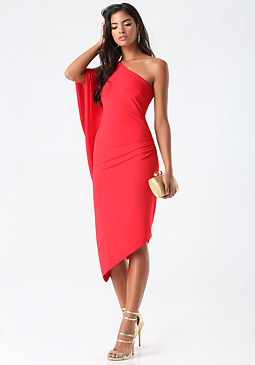 bebe Asymmetric Keyhole Sleeve Dress