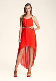 bebe Open Back Pleated Maxi Dress