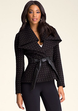 bebe Shawl Collar Studded Jacket