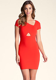 bebe Asymmetrical Cutout Dress