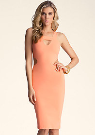 bebe Multi Keyhole Midi Dress