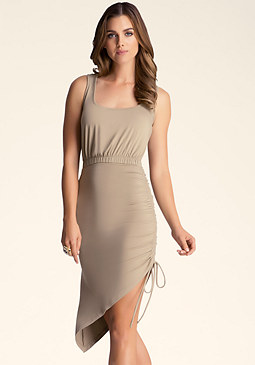 bebe Side Drawstring Hem Dress