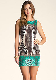 bebe Boatneck Printed Dress