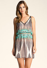 bebe Printed V Neck Dress