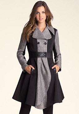 bebe Colorblock Swing Coat