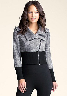 bebe Metallic Ruffle Shoulder Jacket