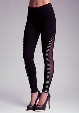 bebe Embellished Mesh Leggings