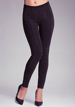 bebe Crystal Studded Leggings