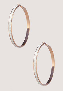 Thin Glitter Hoops at bebe