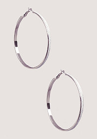 bebe Thin Hoop Glitter Earrings
