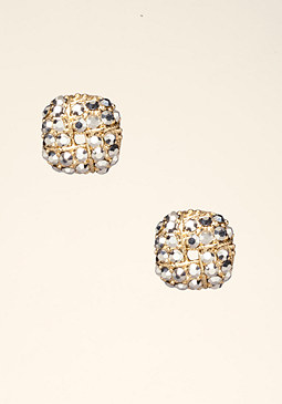 bebe Square Rhinestone Earrings