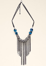 bebe Beaded, Chain & Crystal Necklace