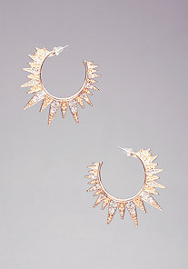 Rhinestone Spike Hoop Earrings at bebe