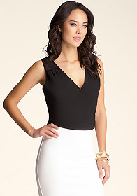 bebe Wrap Front Crop Top