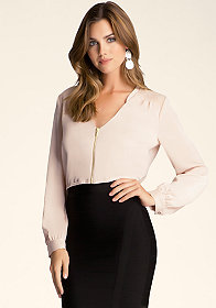bebe Roll Sleeve Zip Crop Top