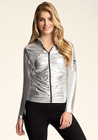 bebe Wet Look Ruched Zip Up