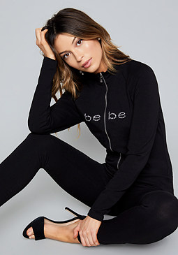 bebe Logo Zip Up Jumpsuit