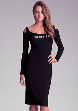 bebe Petite Rib Cold Shoulder Dress