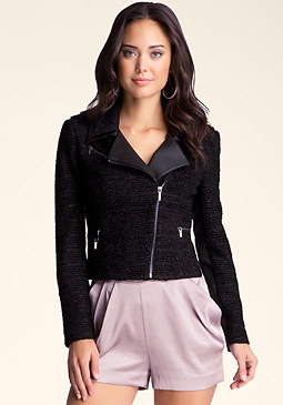 bebe Textured Zipper Crop Jacket