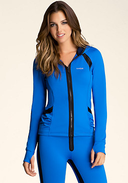 bebe Mesh Back Ruched Hoody