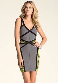 bebe Strap Cutout Jacquard Dress