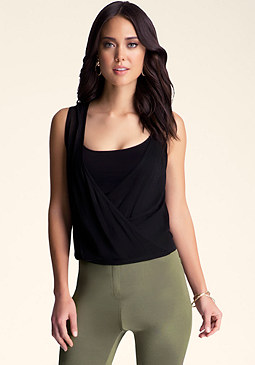 bebe Asymmetrical Drape Top