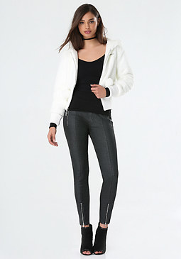 Faux Fur Ribbed Jacket at bebe