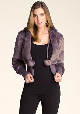 Faux Fur Ribbed Jacket at bebe