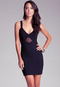 bebe Diamond Mesh Insert Dress