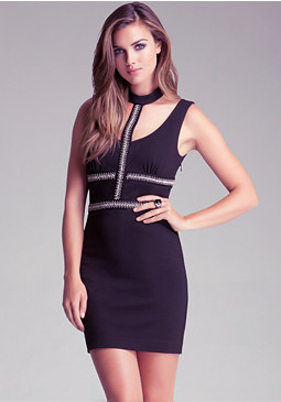 bebe Halter Open Back Dress