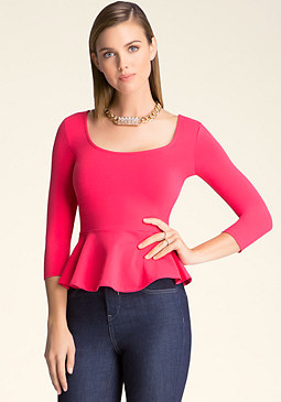 bebe Peplum 3/4 Sleeve Top