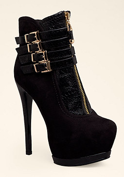 Buckle & Zipper Booties at bebe