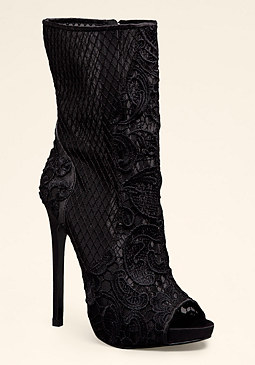 EVELINA LACE PEEP TOEBOOTIE at bebe