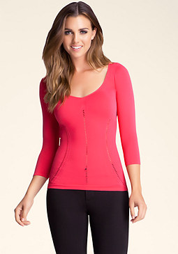 bebe 3/4 Sleeve Ribbed Top