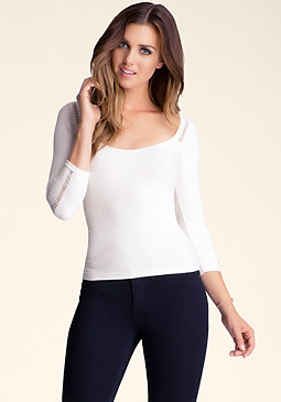 bebe Hot Boatneck Fitted Top