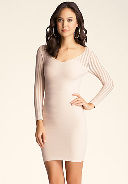 bebe Slash Yoke & Sleeve Dress