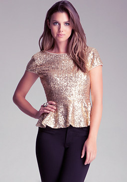 bebe Scoop Back Sequin Peplum Top