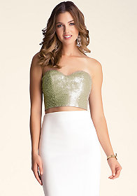 bebe Sequin & Bead Bra Top �