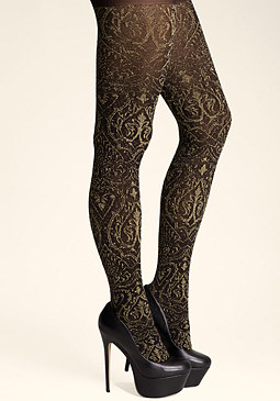 bebe Metallic Damask Tights