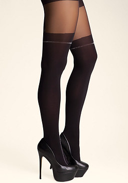 bebe Metallic Faux Garter Tights
