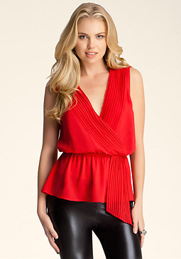 bebe Pintuck V Neck Blouse