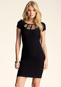 bebe Slash Neckline Dress