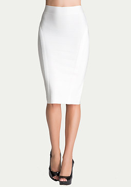 bebe Solid Bodycon Midi Skirt