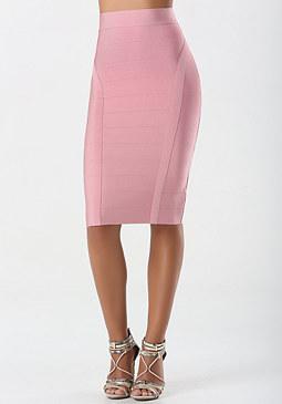 bebe Solid Bandage Midi Skirt