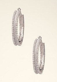 Glitter & Rhinestone Hoops at bebe