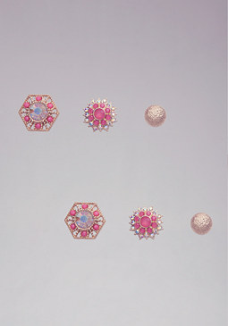 bebe Floral Gemstone Earring Set