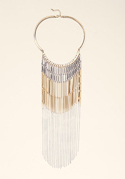 bebe Fringe Drop Collar Necklace