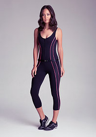 bebe Piping Belted Jumpsuit